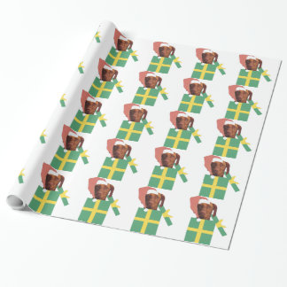 Vizsla Dog in Santa Hat and Box Wrapping Paper