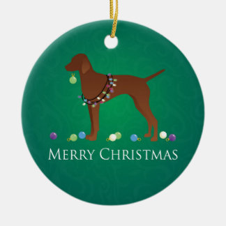 Vizsla Dog Merry Christmas Design Ceramic Ornament