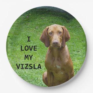 vizsla love w pic paper plate