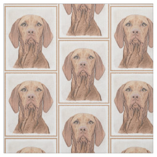 Vizsla Painting - Cute Original Dog Art Fabric