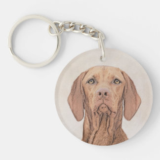 Vizsla Painting - Cute Original Dog Art Keychain