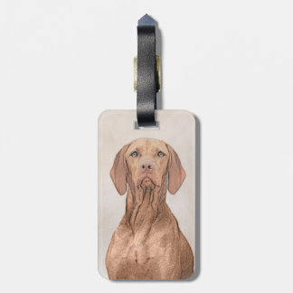 Vizsla Painting - Cute Original Dog Art Luggage Tag