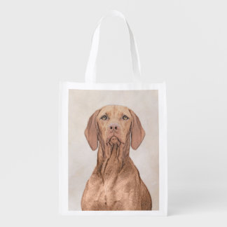 Vizsla Painting - Cute Original Dog Art Reusable Grocery Bag