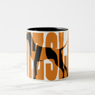 Vizsla Silhouette, Show Stack Two-Tone Coffee Mug