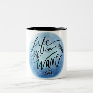 VK Life IS the Wave Surf Two-Tone Coffee Mug