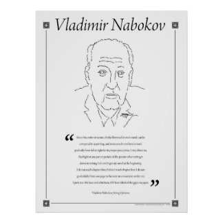 Vladimir Nabokov Writing Quote Poster