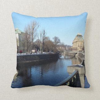 Vltava Riverbank in Prague Cushion