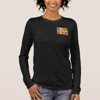 Vneck Shetland 3/4 sleeve Black Long Sleeve T-Shirt
