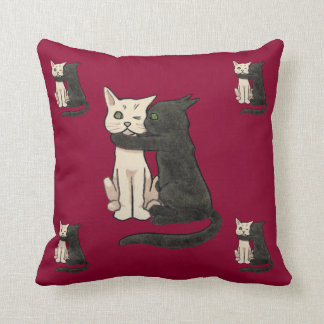 Vntage Cute Kissing Cat Couple Art Throw Pillow