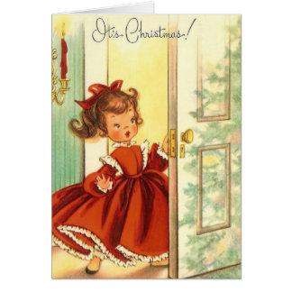Vntage Little Christmas Girl In Red Dress Card