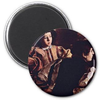 Vocation Of St. Matthew, Detail By Michelangelo 2 Inch Round Magnet