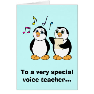 Voice Teacher Thank You with Singing Penguins Card