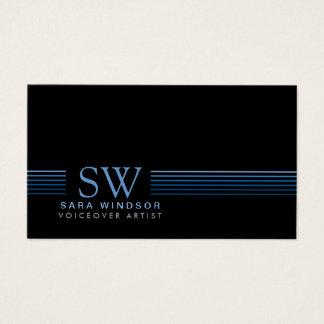 Voiceover Artist Entertainment SkiStriped Monogram Business Card