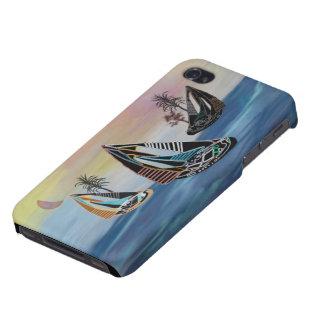 Voiliers tropicaux de néon d'île coque iPhone 4