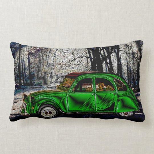 VOITURE DANS LA FORÊT - Artwork Jean Louis Glineur Lumbar Pillow