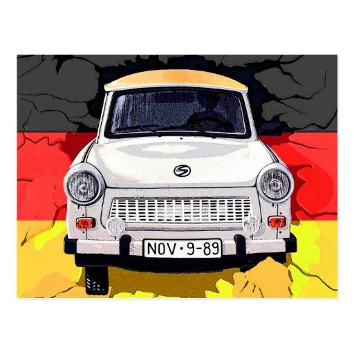 voiture de trabant et drapeau allemand mur de cartes postales zazzle. Black Bedroom Furniture Sets. Home Design Ideas