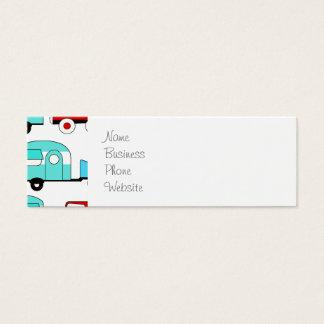 Voitures vintages rouges de rétro de camping mini carte de visite