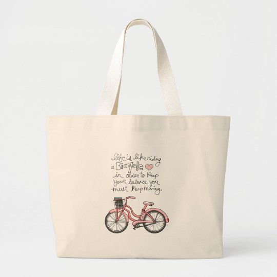 vol25 life is like riding a bicycle large tote bag