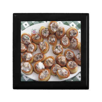 Vol au vents filled with chopped mushrooms keepsake box