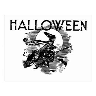 Vol vintage de sorcière de Halloween sur le manche Carte Postale