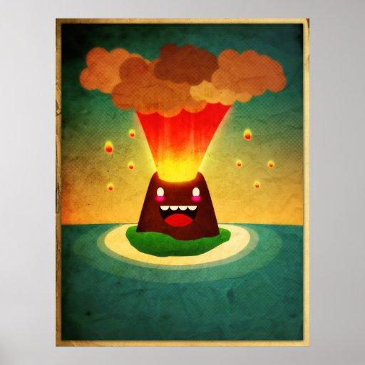 Volcan heureux poster