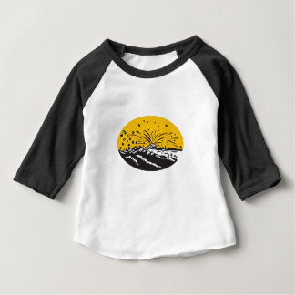 Volcanic Eruption Island Formation Oval Woodcut Baby T-Shirt