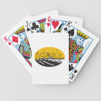 Volcanic Eruption Island Formation Oval Woodcut Bicycle Playing Cards