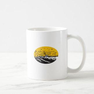 Volcanic Eruption Island Formation Oval Woodcut Coffee Mug