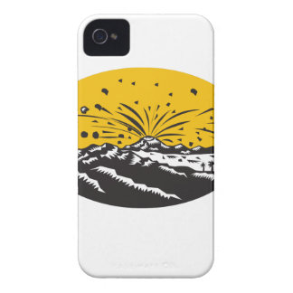 Volcanic Eruption Island Formation Oval Woodcut iPhone 4 Covers