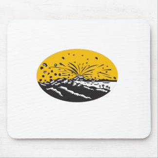 Volcanic Eruption Island Formation Oval Woodcut Mouse Pad