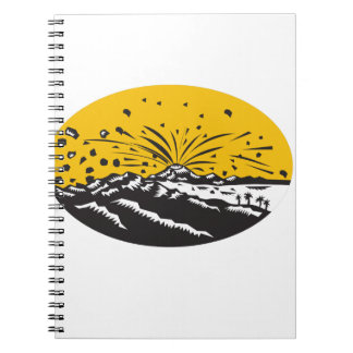 Volcanic Eruption Island Formation Oval Woodcut Notebook