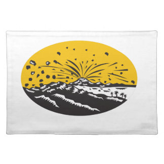 Volcanic Eruption Island Formation Oval Woodcut Placemat