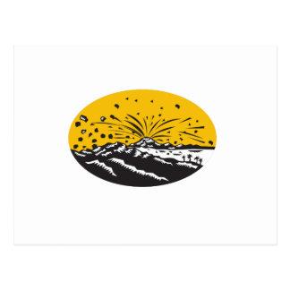 Volcanic Eruption Island Formation Oval Woodcut Postcard