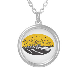 Volcanic Eruption Island Formation Oval Woodcut Silver Plated Necklace