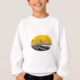 Volcanic Eruption Island Formation Oval Woodcut Sweatshirt
