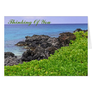 VOLCANIC OUTCROPPING, BLUE OCEAN AND GREEN VEGETAT CARD