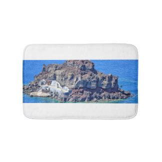 Volcanic rock in the sea in Santorin Greece Bathroom Mat