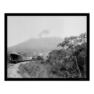 Volcano and Train in Guatemala 1899 Poster