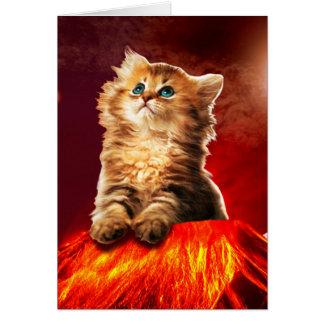 volcano cat ,vulcan cat , card