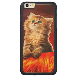 volcano cat ,vulcan cat , carved maple iPhone 6 plus bumper case