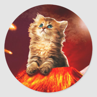 volcano cat ,vulcan cat , classic round sticker