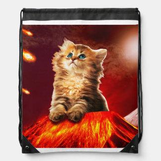 volcano cat ,vulcan cat , drawstring bag