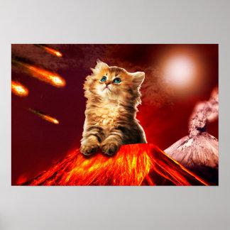 volcano cat ,vulcan cat , poster