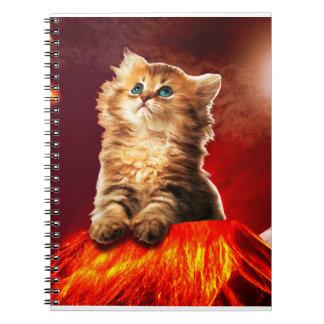 volcano cat ,vulcan cat , spiral notebook