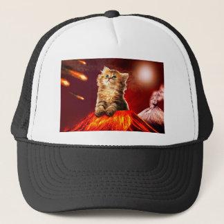 volcano cat ,vulcan cat , trucker hat