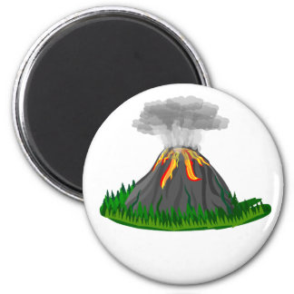 volcano eruption and fire 2 inch round magnet