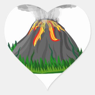 volcano eruption and fire heart sticker