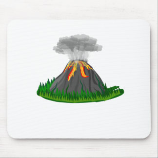 volcano eruption and fire mouse pad