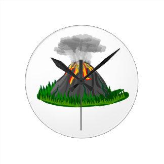 volcano eruption and fire round clock