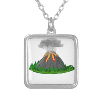 volcano eruption and fire silver plated necklace